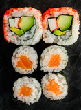 Maki and uramaki sushi rolls Stock Photography