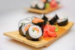 Maki ushi rolls with salmon Royalty Free Stock Photo