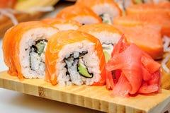 Maki ushi rolls with salmon Stock Photo