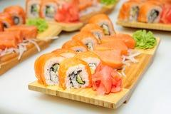 Maki ushi rolls with salmon Royalty Free Stock Photos