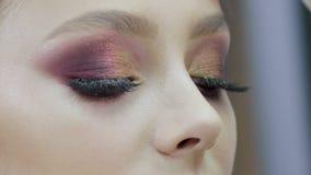 Makijażu artysta robi fachowej makijaż młodej dziewczyny w piękno salonie zdjęcie wideo