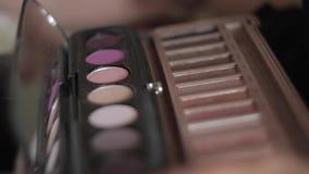 Makijażu szczotkarski kłaść na kolorowej kosmetycznej palecie zdjęcie wideo