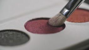 Makijażu szczotkarski macanie na kolor kosmetycznej palecie w zwolnionym tempie zdjęcie wideo