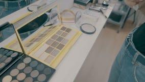 Makijaży muśnięcia kłaść na kolorowej kosmetycznej palecie Kamery obracanie zdjęcie wideo