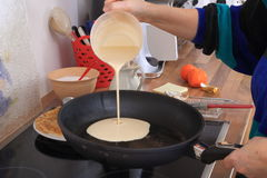 Makinf of thin pancakes Step 1 Stock Image