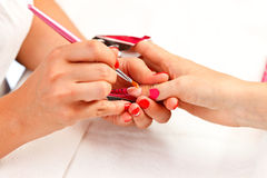 Making acrylic fingernails Royalty Free Stock Photo