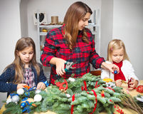 Making an advent wreath with the kids Stock Images