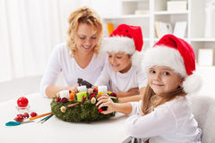 Making An Advent Wreath With The Kids Royalty Free Stock Images