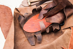 Making of ancient leather shoes Royalty Free Stock Photography