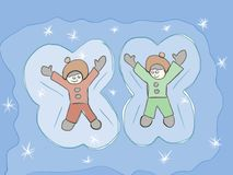 Making angels in the snow kids artistic drawing Stock Image