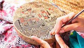 Making antique asian handicraft Royalty Free Stock Photos
