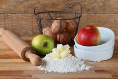 Making apple pie.Ingredients Royalty Free Stock Image