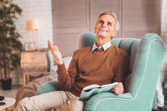 Businessman feeling happy after making meeting arrangement royalty free stock photos