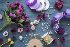 Making a artificial flowers and wreath for wedding decorating. stock image