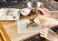 Making Asian Spring rolls for Dinner Royalty Free Stock Photography
