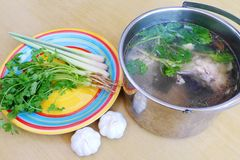Making asian style soup stock stock photos