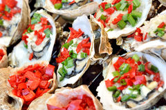 Toast oyster. Making baked oyster in spicy and special flavour taste, shown local aroma and different cooking or food culture as street food and snack Stock Images