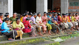 MAKING BALINESE OFFERINGS Royalty Free Stock Photo