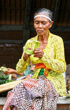 MAKING BALINESE OFFERINGS Stock Images