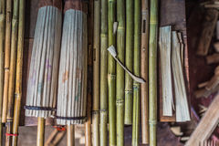 Making of bamboo umbrellas Royalty Free Stock Images
