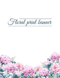 Making a banner with a border drawn with watercolor pions. Template floristic banner with watercolor pions Royalty Free Stock Photo