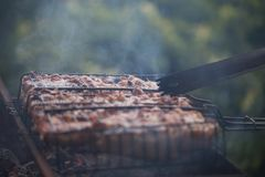 Making barbeque on grill. Weekend cookout. Cooking outside, picnic. Seasonal cooking Royalty Free Stock Images