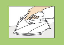 Making beautiful bags. The process of ironing fabrics Royalty Free Stock Images