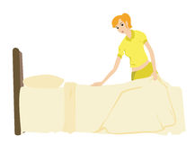 Making Bed stock image