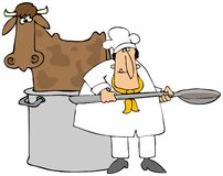 Making Beef Broth. This illustration depicts a cow standing in a large stockpot with a chef standing in front holding a large spoon Royalty Free Stock Image