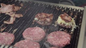 Making beef burgers stock footage
