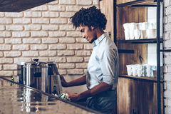 Making best coffee in this town. Royalty Free Stock Photography