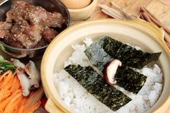 Making Bibimbap korean food delicious. Stock Photos