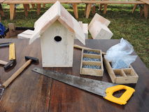 Making birdhouses, Lithuania Stock Image