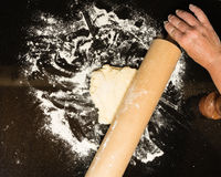 Making biscuits with rolling pin and dough Stock Photos