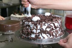 Making black forest cake Royalty Free Stock Image