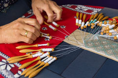 Making bobbin lace Stock Image