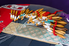 Making bobbin lace Stock Photo