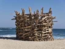 Making a bonfire on the beach of Gangneung city stock photography
