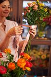 Making bouquet for sale Royalty Free Stock Images