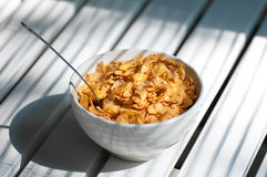 Making a bowl of cornflakes Royalty Free Stock Images