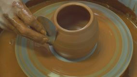 Making bowls of clay stock video footage