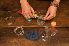 Making bracelet jewellery Stock Photo
