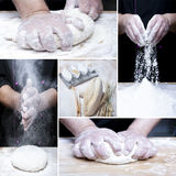 Making bread collage Stock Photos