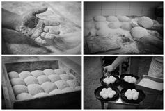 Making bread by hand collage. Kneading the dough and making the white bread in a bakery kitchen. Sprinkling the dough with seeds and placing it in the casserole Stock Photos