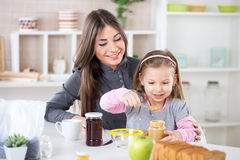 Making breakfast in the morning Stock Images