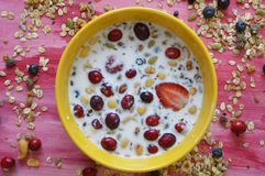 Yellow dish on pink board full of Oatmeal, chia seeds, fresh berries, seeds, nuts and milk. Making breakfast with some milk, oatmeal, nuts, seeds and berries stock photo
