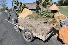 Making bricks. Craftsmen making bricks in a dry plantation area in Boyolali, Central Java, Indonesia royalty free stock photo