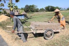 Making bricks. Craftsmen making bricks in a dry plantation area in Boyolali, Central Java, Indonesia stock photo