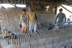 Making bricks. Craftsmen making bricks in a dry plantation area in Boyolali, Central Java, Indonesia royalty free stock images