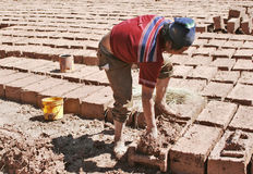 Making Bricks by Hand Stock Photo